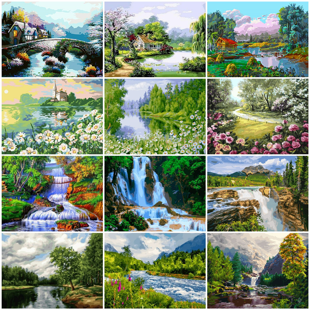 HUACAN Painting By Numbers Waterfall Landscape Drawing On Canvas HandPainted Art Gift DIY Picture By Number Tree Kits Home Decor