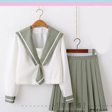 Зеленая школьная форма Jk, милый повседневный костюм моряка для девочек, Jpanese Kawaii, изысканный элегантный костюм с вышивкой, топ+ плиссированная юбка