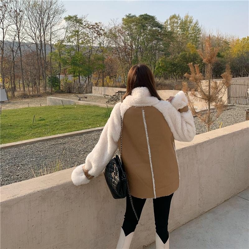 H1f367a73a78f46fcad2d2a77f208dd354 Winter Women High Quality Fur Coat Loose Collar Design Integrated Long Splicing Single-breasted Cotton-padded Pocket Jackets