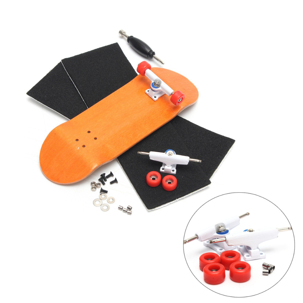 Orange/Blue Wooden Finger Skateboards Professional Finger Skate Board Wood Fingerboard With Bearings Wheel Foam Screwdriver