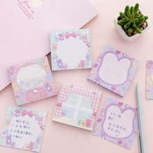 4pcs Cute Rabbit Sticky Notes Lovely Bear Candy Color Adhesive Memo Pad Stickers Planner Record Note Book Office School F912