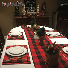 2020 Christmas Decoration Plaid Placemat Dining Table Cutlery Plate Placemat Christmas