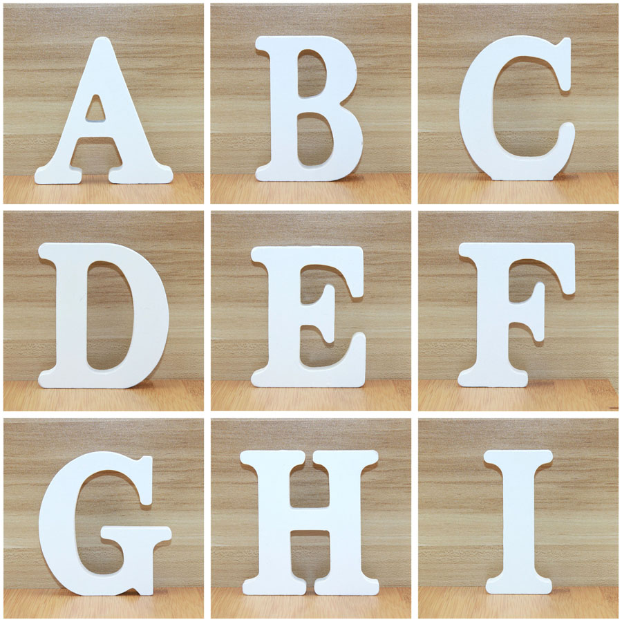 1pc 10cm Wooden Letters Alphabet Name Design Art Crafts White Letter Party Wedding Home Decor Standing DIY Word 3.94 Inches
