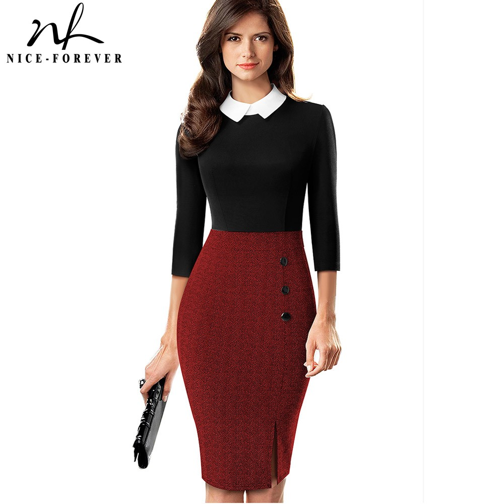 Nice-forever Elegant Contrast Color Patchwork Office Work Vestidos Business Party Women Bodycon Dress B568