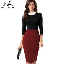Nice forever elegante vestido ceñido al cuerpo para mujer, ropa de trabajo, oficina, retales de colores contrastantes, fiesta de negocios, B568