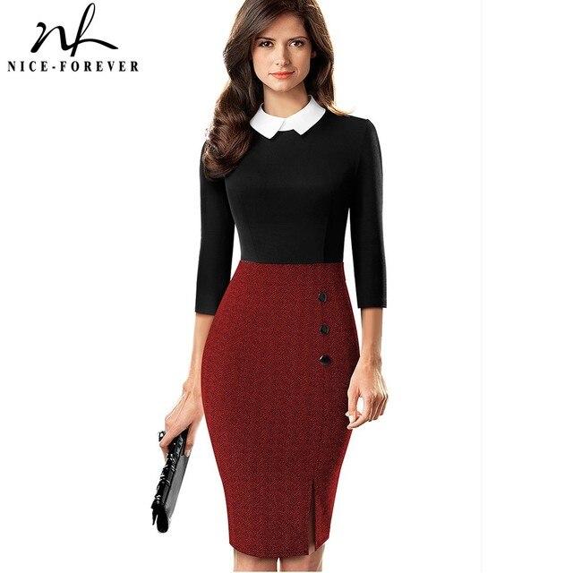 لطيفة للأبد أنيقة التباين اللون المرقعة مكتب العمل vestidos الأعمال حفلة المرأة Bodycon فستان B568