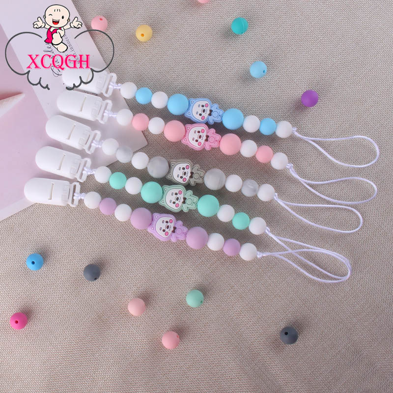 XCQGH Silicone Baby Pacifier Chain Silicone Loose Beads Molar Cartoon Bear Teether Baby Pacifier Chain Clip