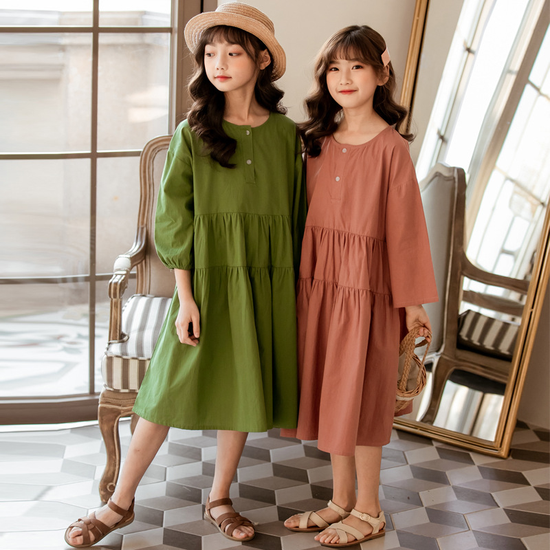 2020 Girls Summer Clothes New Kids Dresses For Girls Teen Cotton Dress Baby Beautiful Princess Dress Children Loose Dress, #8752