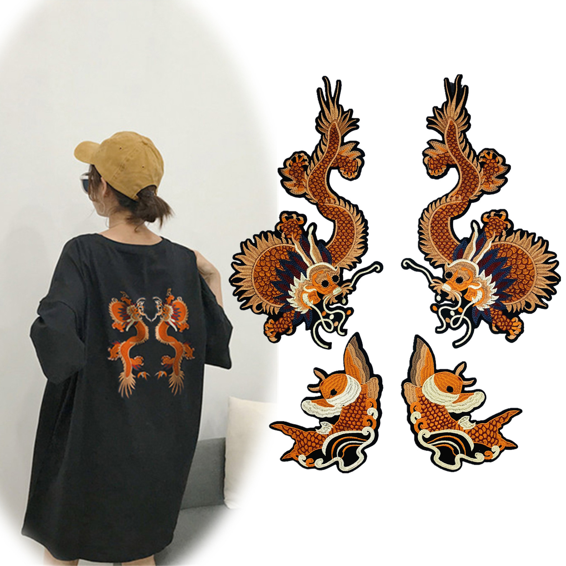 Iron On Set Of Dragon Embroidery Patches 4pcs Small Patches Apply To Handmade T-shirt 、Dress、Jacket