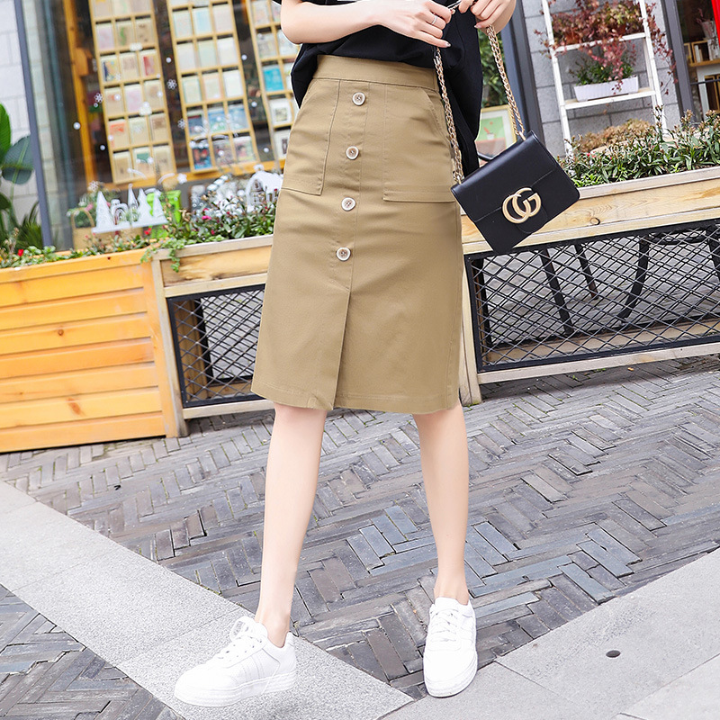 Spring And Summer-2019 New Style High-waisted Fashion <font><b>Skirt</b></font> Elegant Slimming Slit Sheath One-step <font><b>Skirt</b></font> Casual <font><b>Bib</b></font> <font><b>Skirt</b></font> image