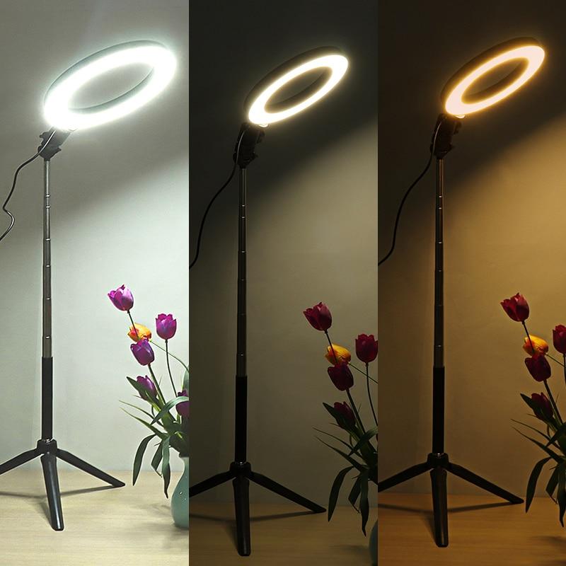 Fotografia możliwość przyciemniania LED Selfie lampa pierścieniowa wideo na żywo 3500-5500k Photo Studio lampa z uchwytem telefonu wtyczka USB statyw wypełnij światła