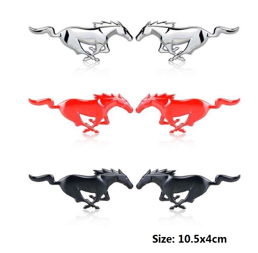 Black/Red Car Auto sticker Metal Running Horse Front Grill Grille Truck Hood Emblem Badge for Ford Mustang 1994 2004 car styling-in Car Stickers from Automobiles & Motorcycles