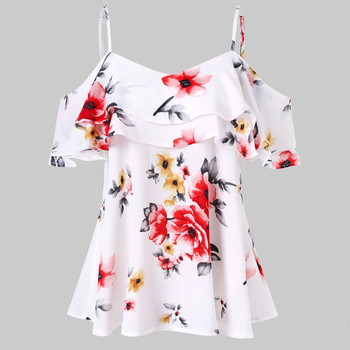 Off The Shoulder Tops Plus Size 5xl Summer Chiffon Women Tops Froal Print Blouse Casual Loose Shirts Women Clothes casual off the shoulder print flare sleeve blouse for women
