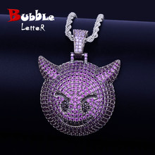 Fioletowy kolor Demon Evil Expression naszyjnik i wisiorek z łańcuchem tenisowym Bling cyrkon moda Hip hop Rock Street biżuteria