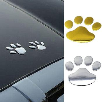 car sticker 3D Car Silver/Golden ST Window Bumper Body Decal Sticker Bear Cat Dog Paw Foot car accessories image