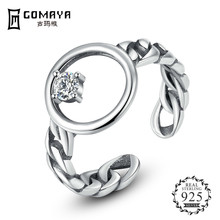 GOMAYA Real 925 Sterling Silver  Open Finger Rings For Women Men Brand Ring Fine Jewelry