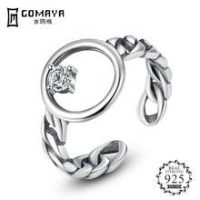 GOMAYA Real 925 Sterling Silver  Open Finger Rings For Women Men Brand Ring Fine Jewelry