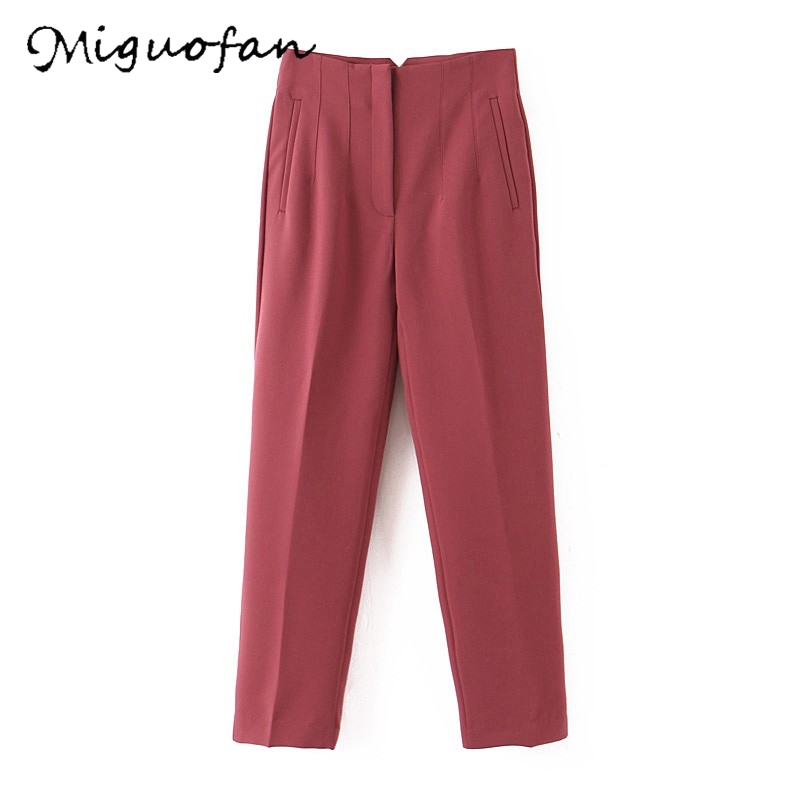 Miguofan Pants Fashion Basic Straight Solid Women Trousers Womens Clothing Elegant Pockets Office Ladies Cargo Pants Clothes Za