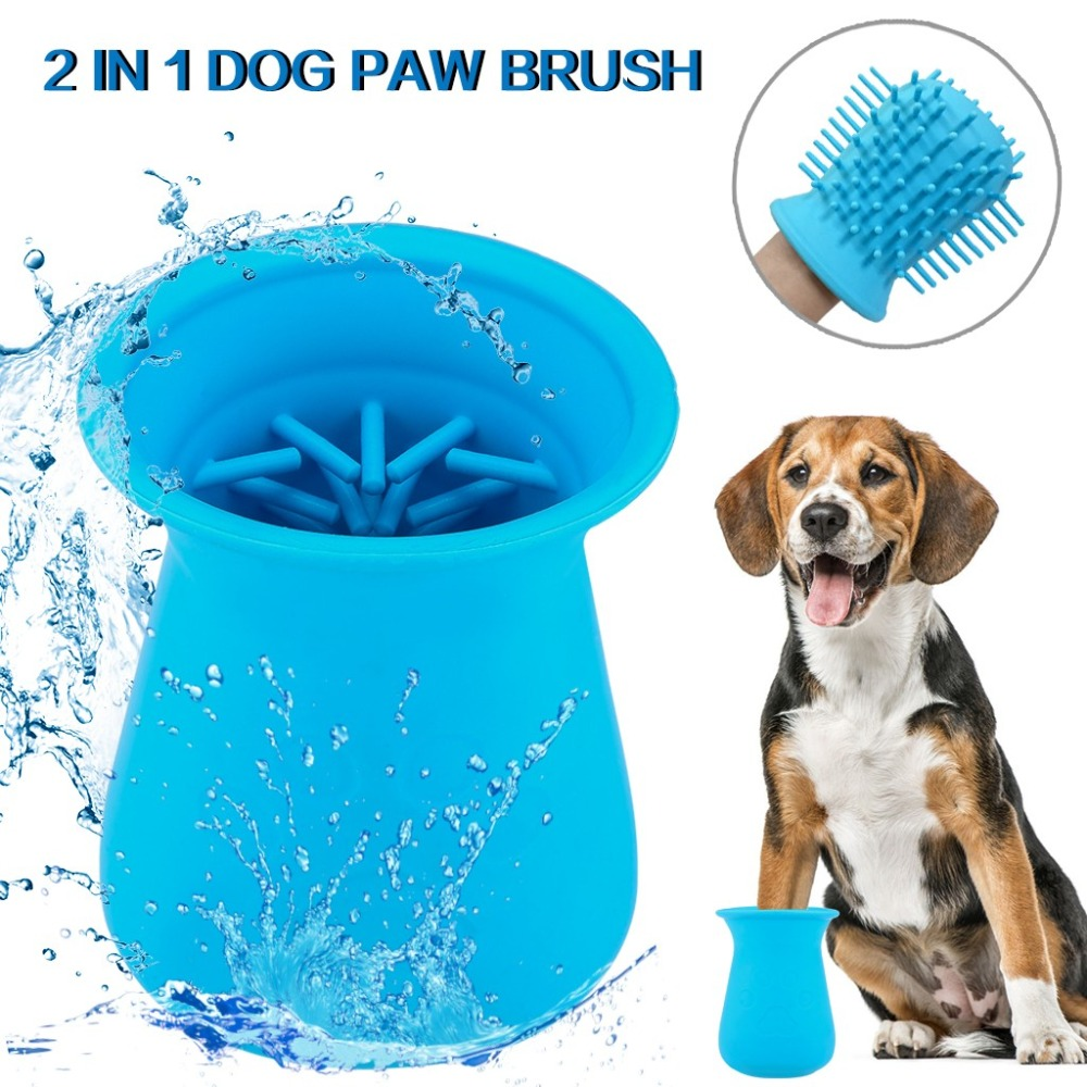 Dog Paw Cleaner Cup Silicone Combs Portable Pet Foot Washer Cup Paw Clean Brush Quickly Wash Dirty Cat Foot Cleaning Bucket A40