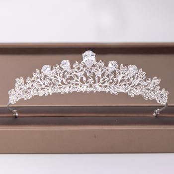 Modny srebrny kwiat cyrkon Rhinestone korona ślubne akcesoria do włosów ślubne nakrycie głowy ozdoby do włosów włosy ślubne biżuteria korona tanie i dobre opinie AiliBride SILVER Moda Cyrkonia Tiary Kobiety TRENDY Hairwear PLANT