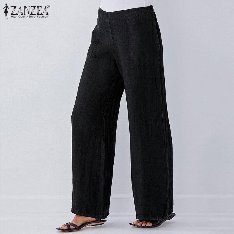2020 Fashion PantsZANZEA Women Wide Leg Long Trousers Ladies Casual Elastic Waits Loose Pockets Bottoms Streetwear Plus Size 5XL