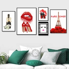 Fashion Paris Perfume Red Lips Flower Wall Art Canvas Painting Nordic Posters And Prints Pictures For Living Room Decor