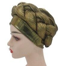 Nigerian Shining Gele Headtie Already Made Aso Oke Auto Gele African Turban Cap Muslim Women Head Wraps Hijab Bonnet