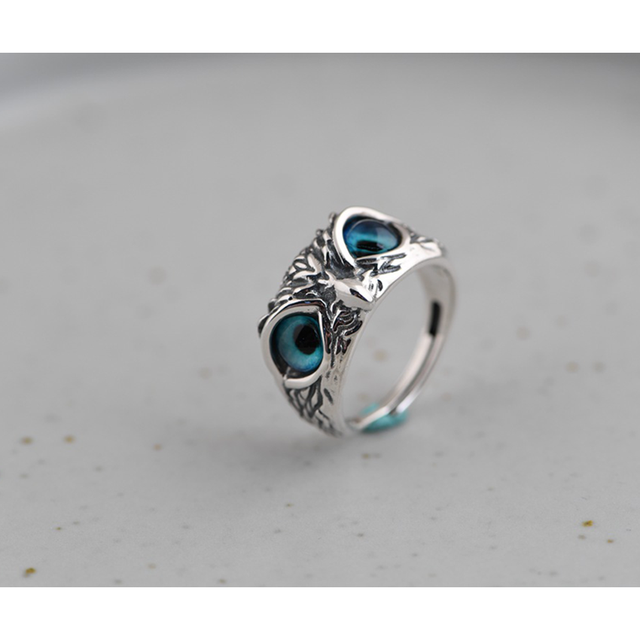 Charm Vintage Cute Men and Women Simple Design Owl Ring Silver Color Engagement Wedding Rings Jewelry Gifts 6