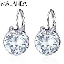 Kryształy swarovskiego okrągłe Bella V stadniny kolczyki dla kobiet nowe mody kobiece kolczyki wesele biżuteria mama dziewczyny prezent