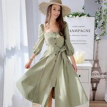 Dabuwawa Elegant Vintageผู้หญิงชุดฤดูใบไม้ร่วงต้นฤดูใบไม้ร่วงพัฟสแควร์คอRufflesสีชมพูชุดลำลองชุดยาวDN1CDR053