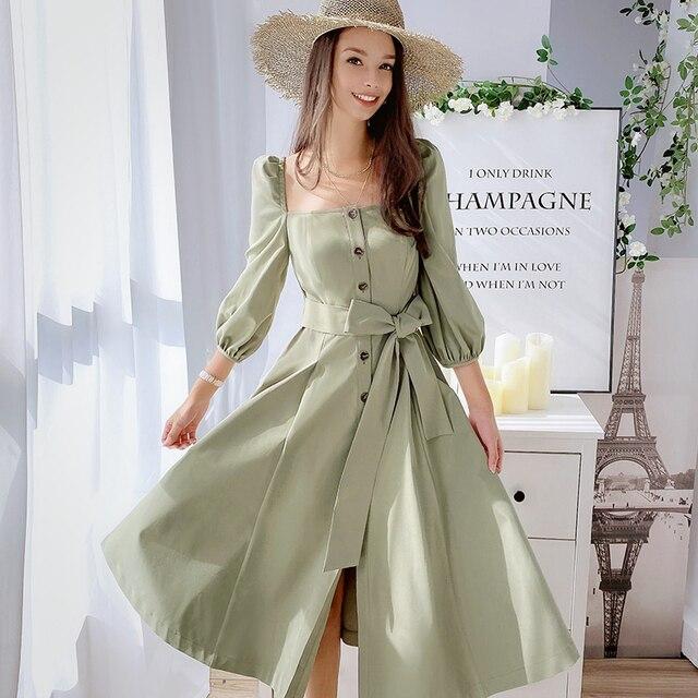 Dabuwawa Mulheres Do Vintage e Elegante Vestido No Início do Outono Puff Luva Praça Neck Ruffles Rosa Vestidos Casuais Vestido Longo DN1CDR053