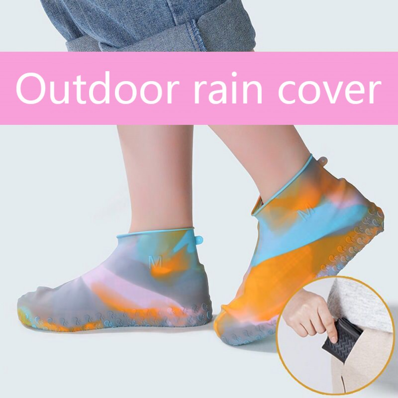 1 Pair Rubber Reusable Silicone Waterproof Rain Shoes Covers Slip-resistant Rain Boot Motorcycle Bike Overshoes Shoes Accessorie