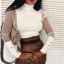 Plus Size White Black Lace Polka Dots Blouse Shirt Fashion Women Tops and Blouses New Spring Summer Female Shirt OL Women Blusas