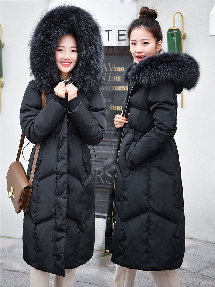 Plus Size Winter Duck Down Jacket Women Clothes 2019 Korean Real Raccoon Fur Hoode Duck Down Coat Female Warm Parka 18077