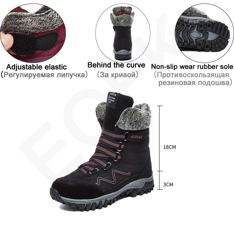 EOFK kış kadın botları kadın bayan hakiki deri sıcak düz Platform kürk su geçirmez kar Sneakers peluş moda günlük çizmeler