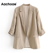 Aachoae 2020 Work Wear Blazer Women Notched Collar Solid Cardigan Coat Half Slee
