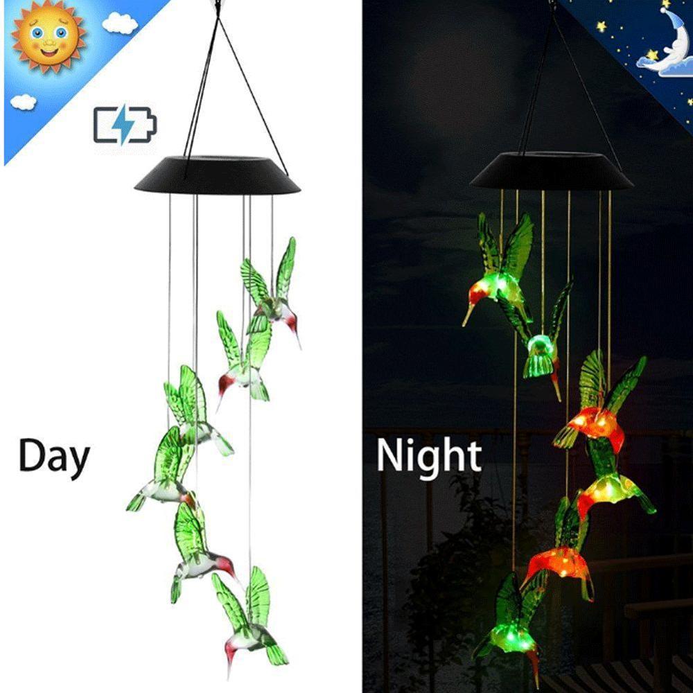 Светодиодный светильник на солнечных батареях, подвесной светильник для сада, уличная лампа Колибри, меняющая цвет, для рождественской