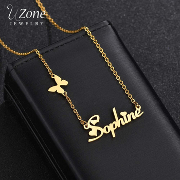 Uzone New Fashion Custom Stainless Steel Name Necklace With Butterfly Personalized Letter Gold Choker For Women Gift