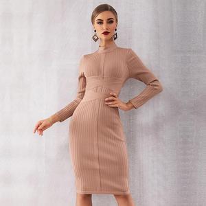 Image 2 - الشتاء الخريف المشاهير مساء حفلة Bodycon ضمادة فستان المرأة طويلة الأكمام س الرقبة أنيقة مثير ليلة خارج فستان المرأة Vestidos