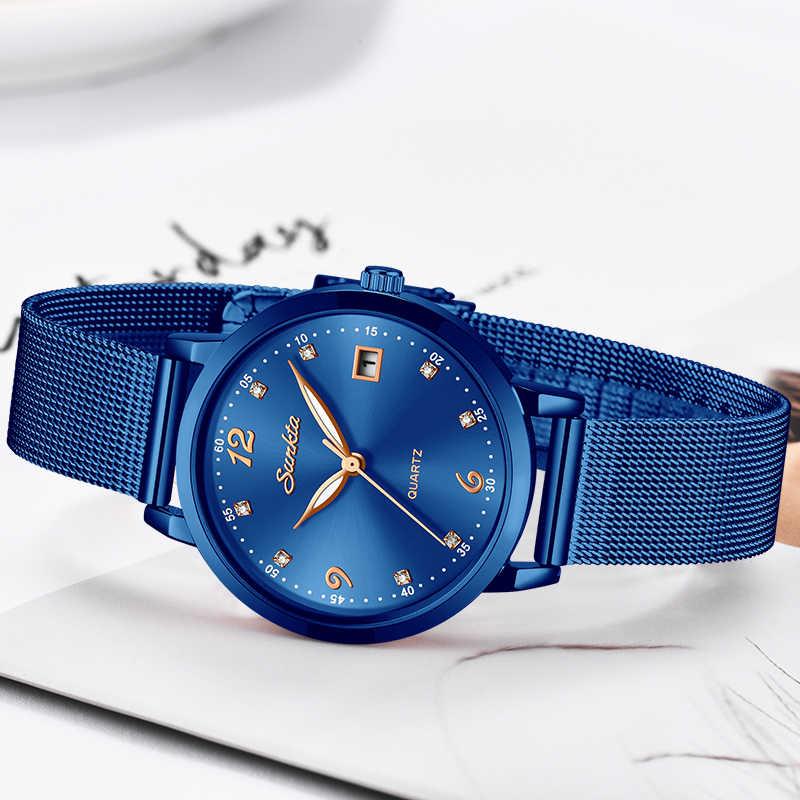 SUNKTA ブランドの高級女性のファッションのドレスクオーツ腕時計女性ステンレス鋼防水時計レロジオ Feminino + ボックス