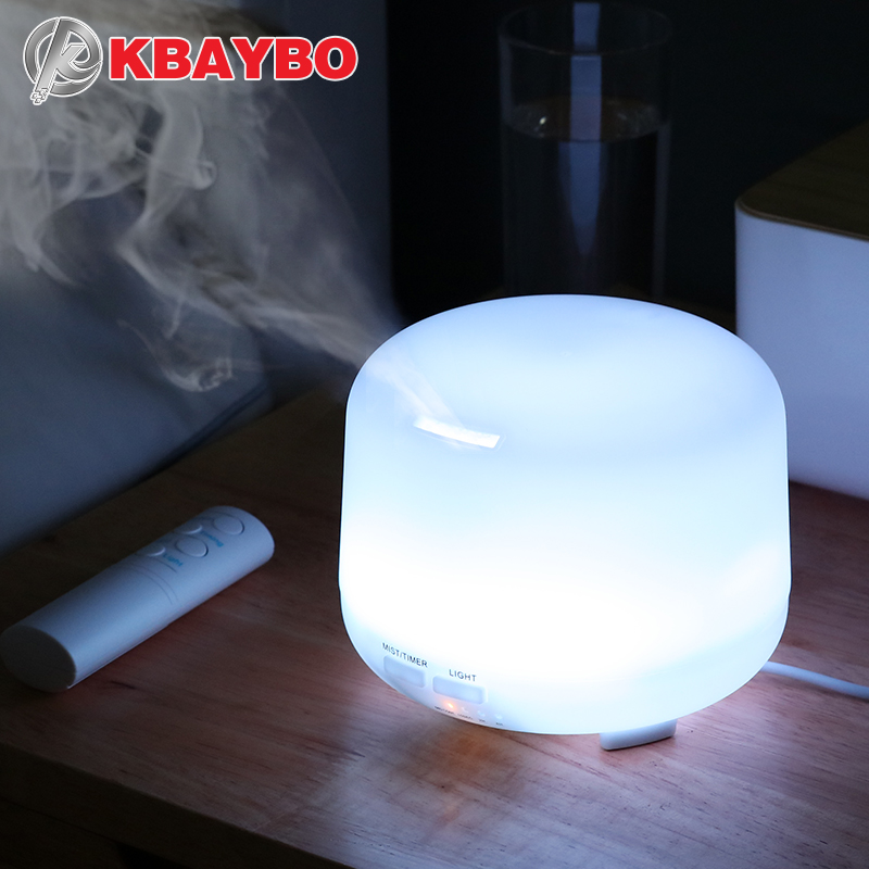 KBAYBO 300ML Electric Ultrasonic Air Humidifier USB Aromatherapy Essential Oil Aroma Diffuser With Remote Control 7 Color Lights