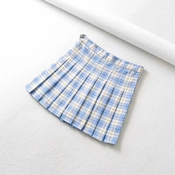 Retro academy style light proof girl's half skirt ins High Waist Hip Wrap Skirt A-line plaid skirt plaid a line midi skirt