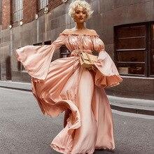 Retro Pink Party Club Maxi Dress Women High Waist Womens Dress Flare Sleeve Ruffles Dresses Off The Shoulder Sexy Long Dress pink off the shoulder curved hem mini dress with waist belt