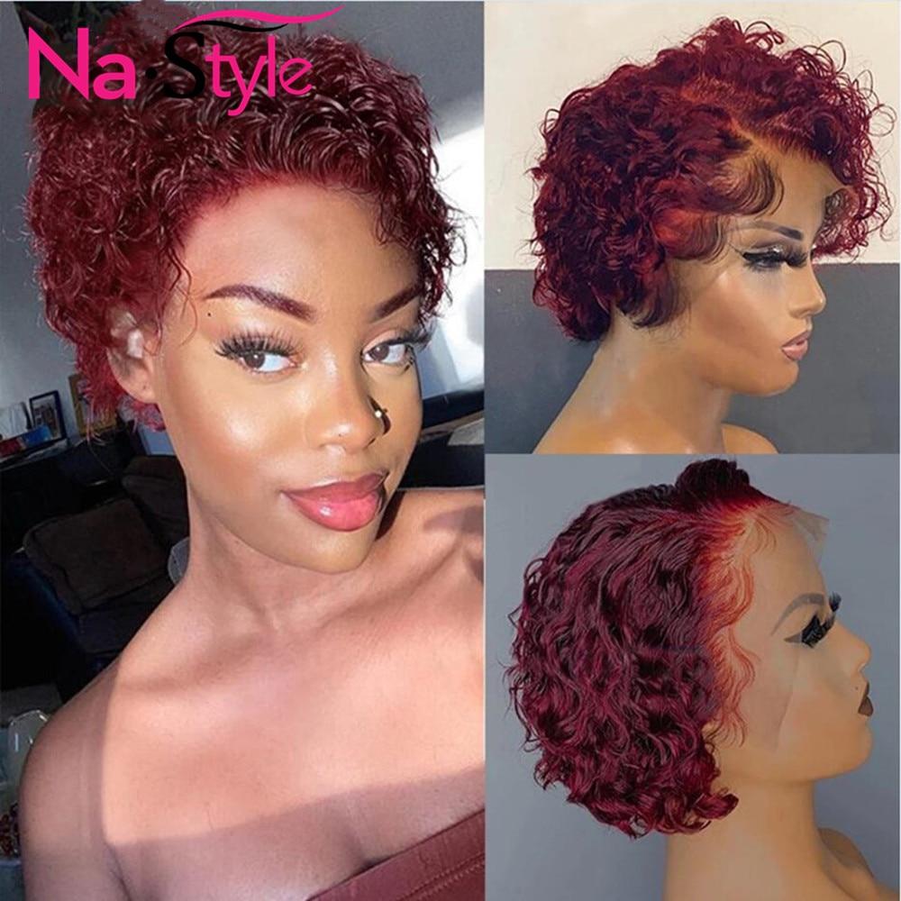 Borgonha peruca do laço para as mulheres vermelho encaracolado peruca de cabelo humano descorado nós lado profundo t parte curto bob pixie corte peruca do cabelo bebê 130 remy
