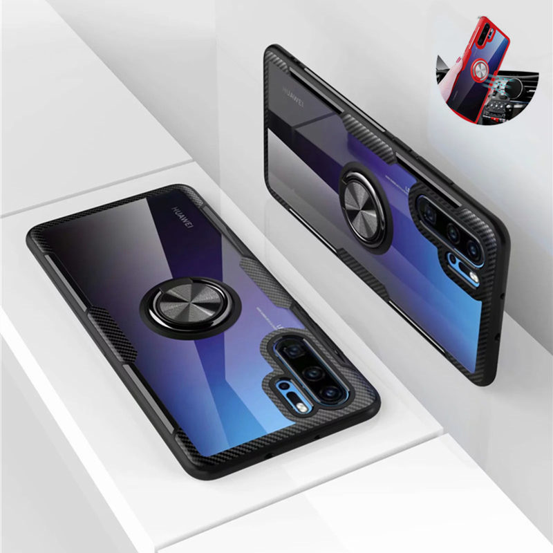Tempered <font><b>Glass</b></font> <font><b>Case</b></font> For <font><b>Huawei</b></font> <font><b>P20</b></font> P30 Pro Mate 30 P Smart 2019 Honor 10 Lite 8X 8S 20 10i Nova 5t Ring Holder Armor Clear Cover image