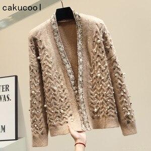 Cakucool Chic perły sweter z perełkami kobiety Bling V neck wąski sweter błyszczący Lurex otwórz Stitch Korea grube swetry sweter kobieta