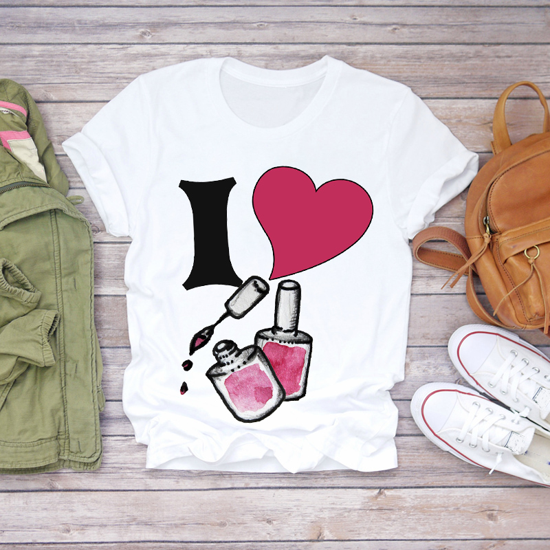 Women 2020 Summer Fingernail Nail Art Love Ladies Print Lady T-shirts Top T Shirt Ladies Womens Graphic Female Tee T-Shirt