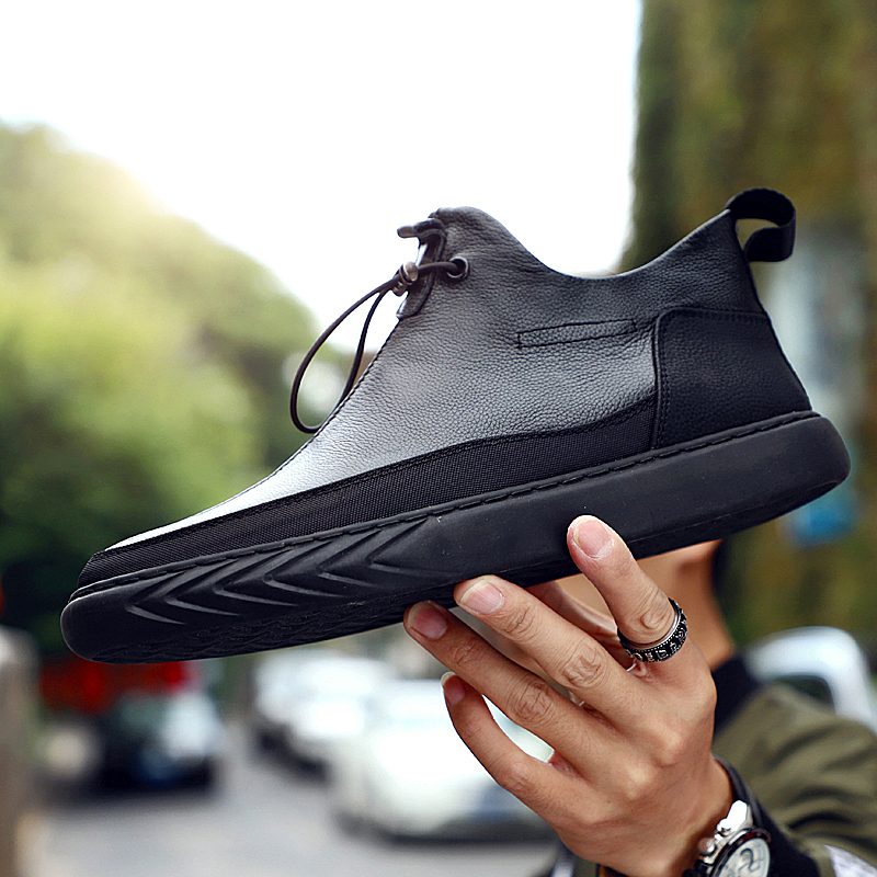 High-Top Mens Shoes 2019 Spring Autumn Male Sneakers Leisure Walking Footwear Soft Comfortable Leather Fashion Man Casual Shoes