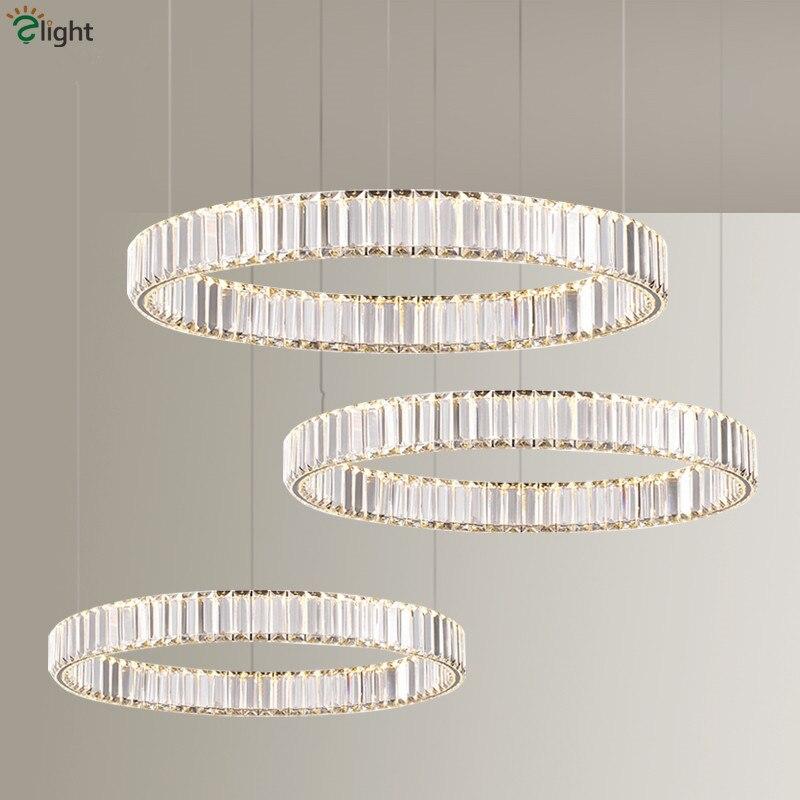 Moderne Glanz K9 Kristall Led Anhänger Lampe Villa Treppen Dimmbare Stahl Ring Auszusetzen Lampe Foyer Led Drop Lamparas Leuchten