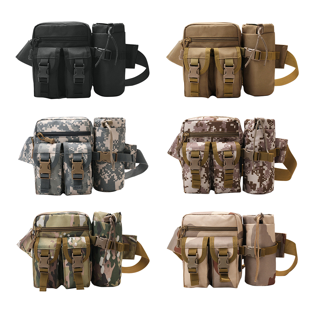 Camouflage Waist Bag Men Outdoor Sports Camping Water Bottle Fanny Packs